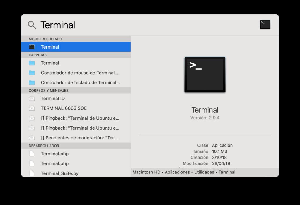 Terminal para activar el Modo Oscuro